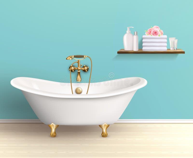 Плакат ванной комнаты покрашенный интерьером иллюстрация штока