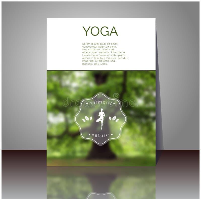 Плакат вектора йоги Покройте дизайн с запачканным фото с вашим текстом иллюстрация штока