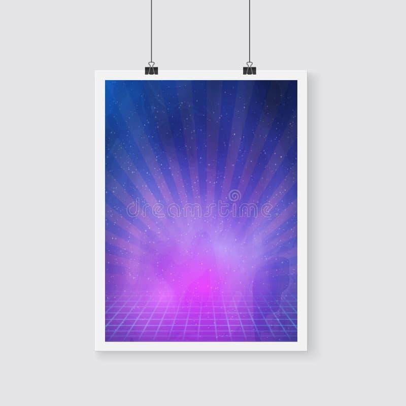 Плакат вектора космического пространства ретро неоновый с межзвёздным облаком, звездами, неоном бесплатная иллюстрация