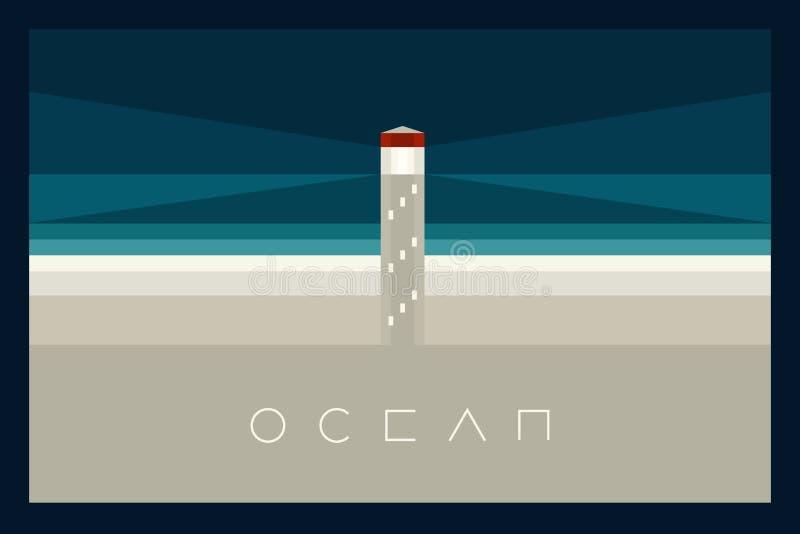 Плакат вектора минимальный: Океан бесплатная иллюстрация