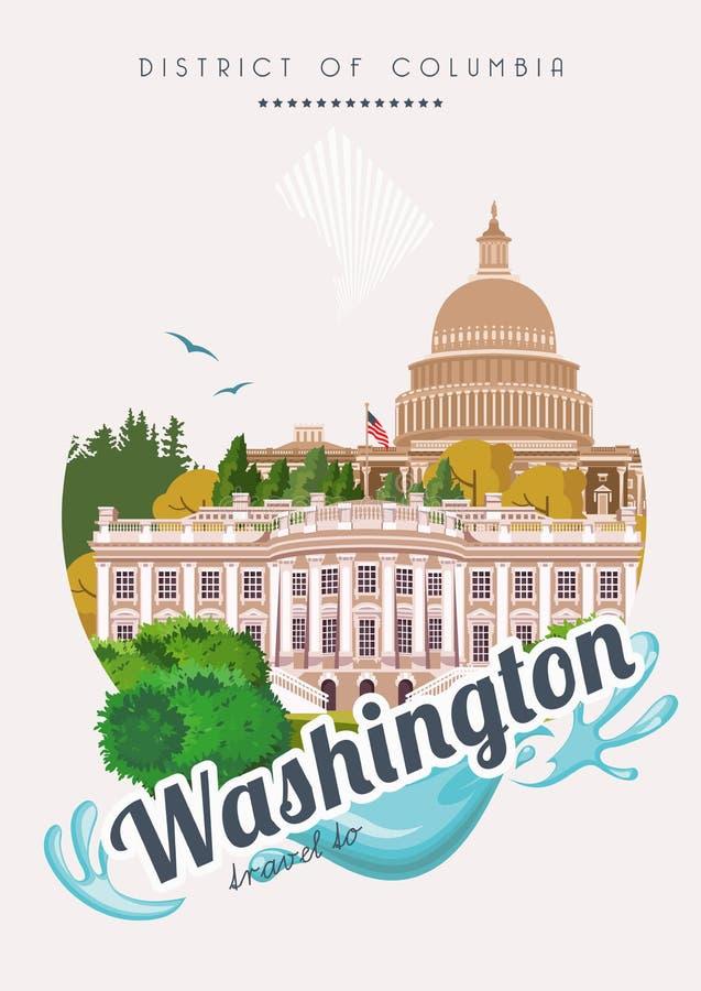 Плакат вектора округа Колумбия Иллюстрация перемещения США Карточка Соединенных Штатов Америки Знамя Вашингтона с зданиями иллюстрация вектора