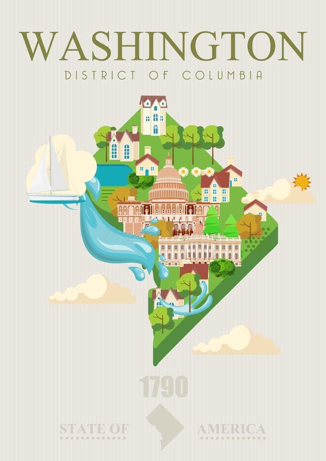 Плакат вектора округа Колумбия Иллюстрация перемещения США Карточка Соединенных Штатов Америки Знамя Вашингтона с картой иллюстрация вектора