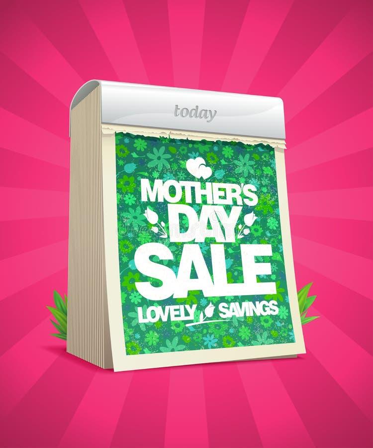 Плакат вектора продажи дня матерей с календарем разрыва- бесплатная иллюстрация