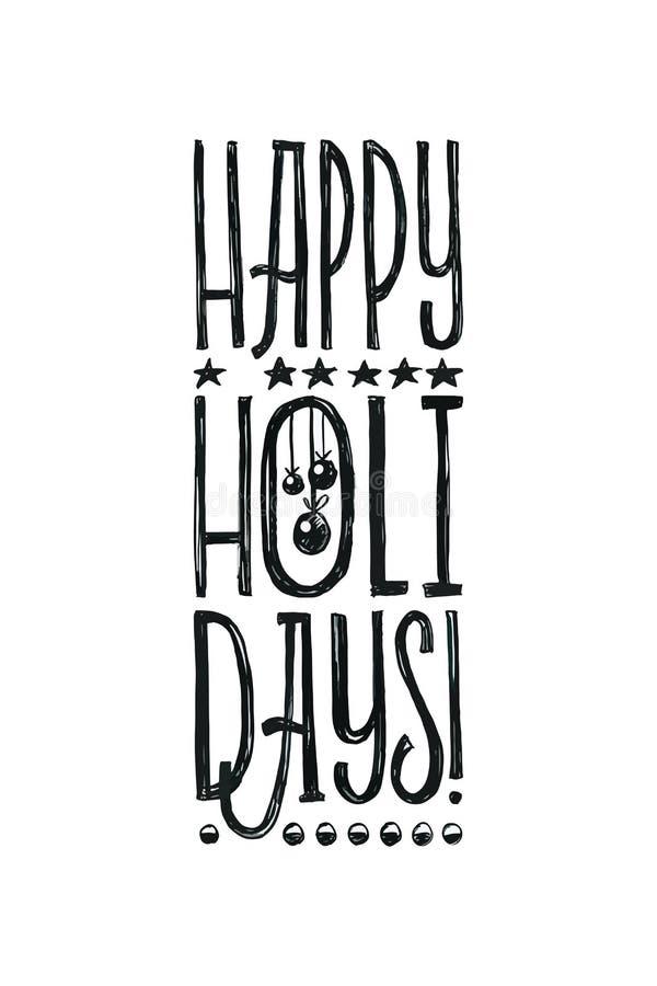 Плакат вектора счастливых праздников с Рождеством Христовым ретро Черно-белый Monochrome дизайн Каллиграфия чернил нарисованная р бесплатная иллюстрация
