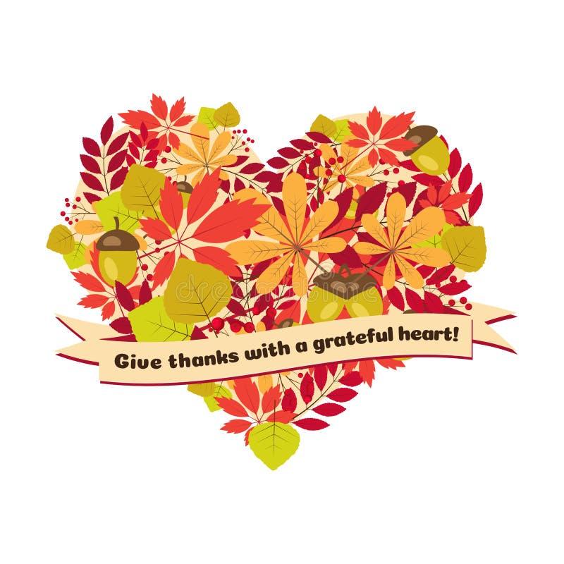 Плакат вектора с цитатой - дайте спасибо признательное сердце Счастливые листья и ягоды осени шаблона карточки официальный праздн бесплатная иллюстрация