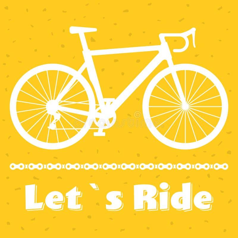 Плакат велосипеда Minimalistic позволил езде s Черный велосипед гонок дороги с цепью белизна вектора акулы иллюстрации предпосылк иллюстрация штока