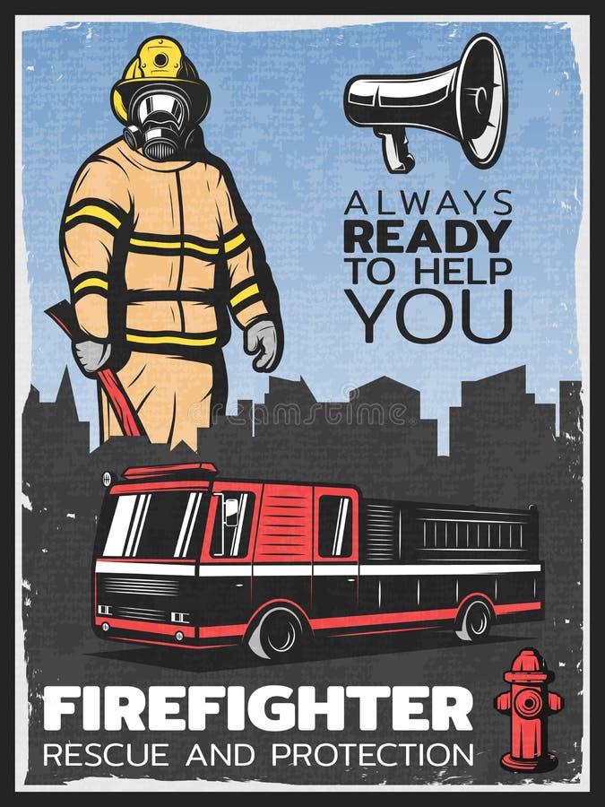 Плакат винтажного Firefighting красочный иллюстрация вектора