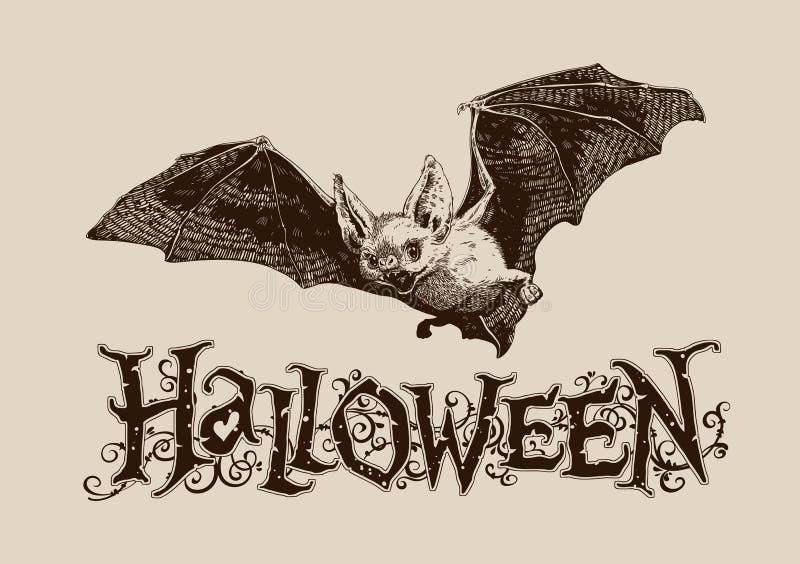 Плакат винтажной летучей мыши хеллоуина горизонтальный, знамя, заголовок, почта, I иллюстрация штока