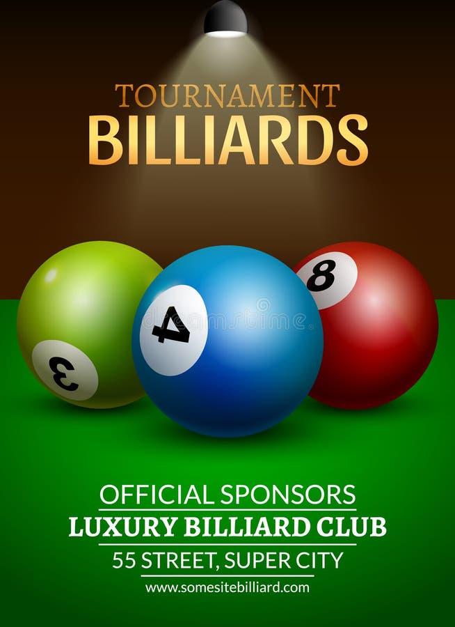 Плакат возможности биллиарда вектора реалистические шарики 3d на таблице биллиарда с лампой Чемпионат крышки дизайна рогульки бесплатная иллюстрация