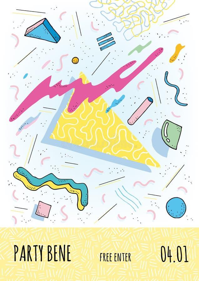 Плакат в стиле Мемфиса с геометрическими современными формами Шаблон плаката партии Иллюстрация вектора, яркий цвет иллюстрация штока