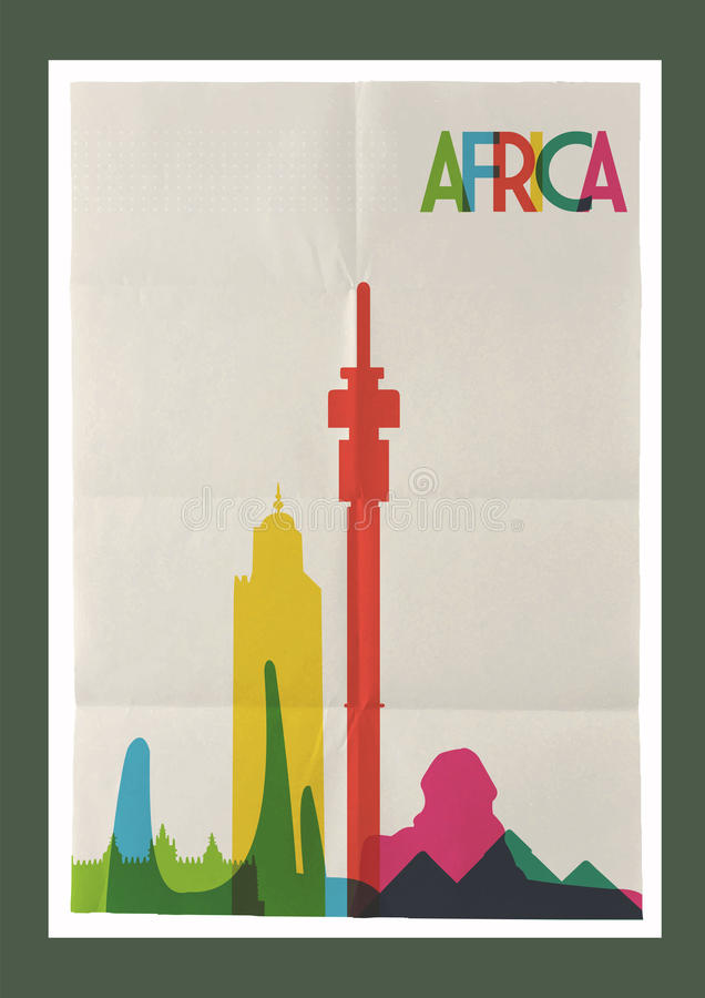 Плакат года сбора винограда горизонта ориентир ориентиров Африки перемещения иллюстрация штока