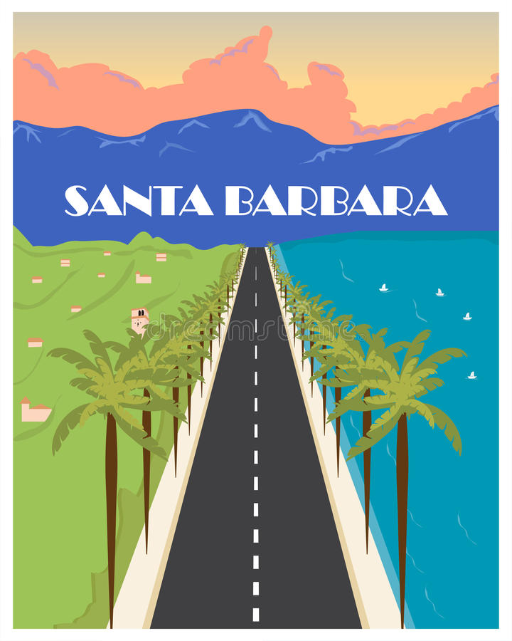 Плакат года сбора винограда Санта-Барбара также вектор иллюстрации притяжки corel бесплатная иллюстрация