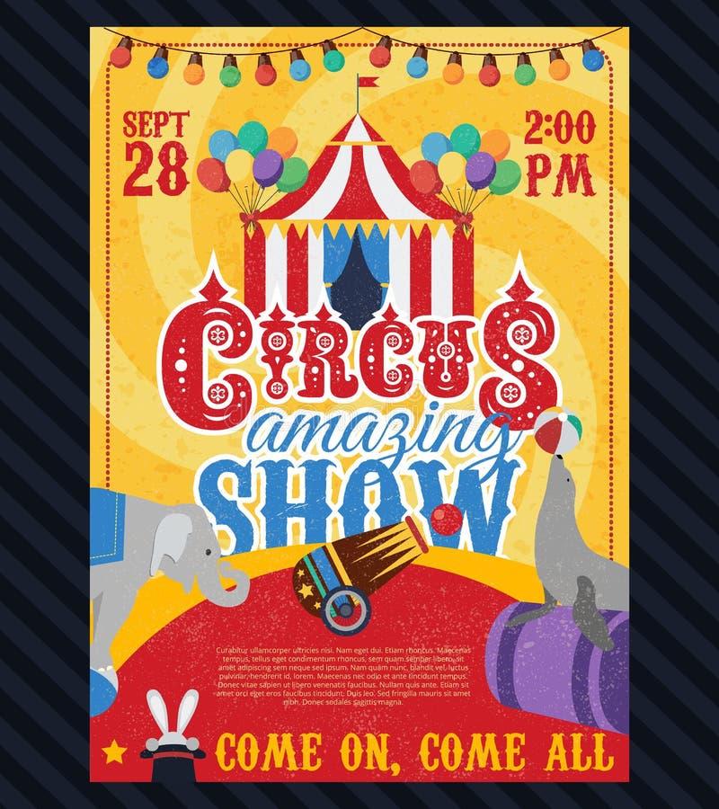 Плакат года сбора винограда цирка бесплатная иллюстрация