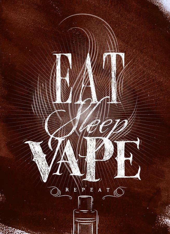 Плакат ест коричневый цвет vape сна бесплатная иллюстрация