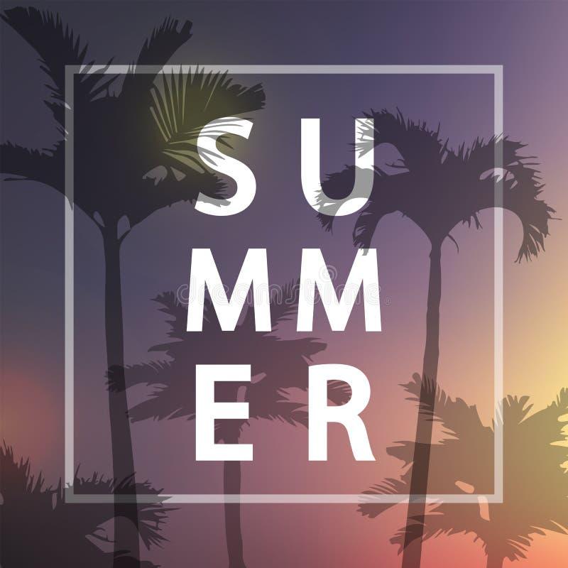 Плакат лета также вектор иллюстрации притяжки corel Предпосылка ладони Для дизайна плаката лета, партия, потеха, пляж, перемещени иллюстрация вектора