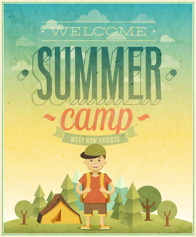 Плакат летнего лагеря иллюстрация вектора