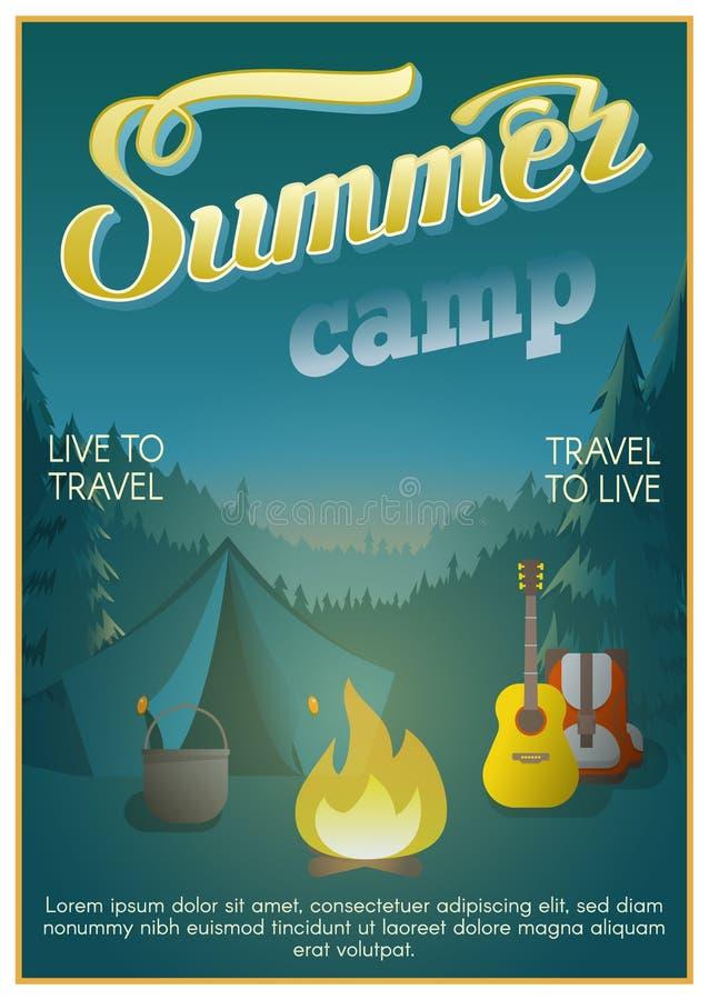 Плакат летнего лагеря бесплатная иллюстрация
