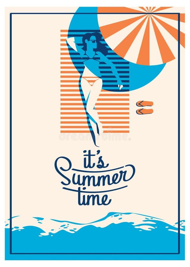 Плакат летнего отпуска и летнего лагеря иллюстрация вектора