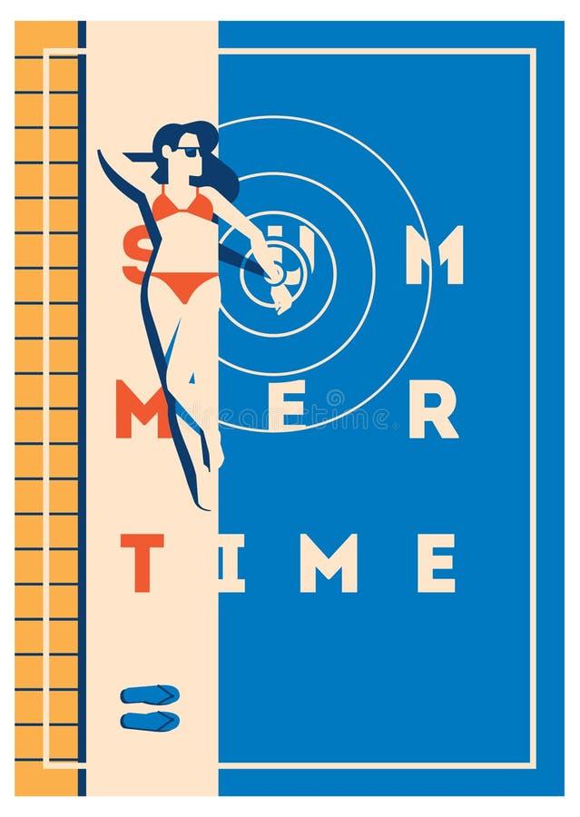 Плакат летнего отпуска и летнего лагеря иллюстрация штока
