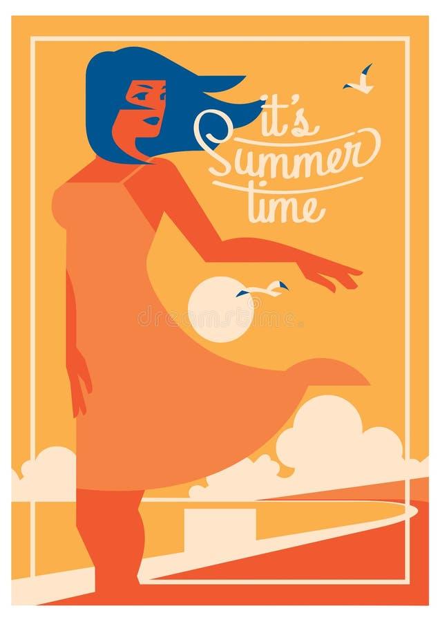 Плакат летнего отпуска и летнего лагеря бесплатная иллюстрация