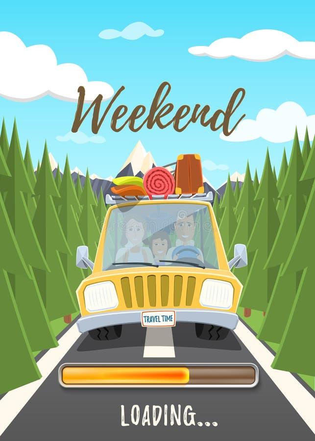 Плакат загрузки выходных иллюстрация вектора