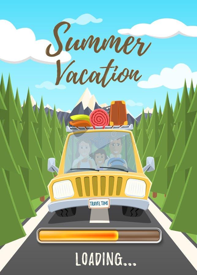 Плакат загрузки летних каникулов иллюстрация вектора