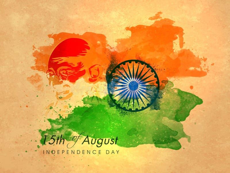 Плакат, знамя, рогулька на индийский День независимости иллюстрация штока