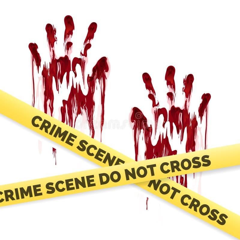 Плакат злодеяния с кровопролитными handprints бесплатная иллюстрация