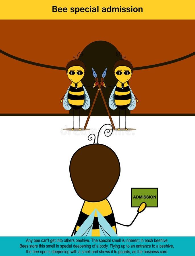Плакат информации содержа информацию на специальном допущении пчелы иллюстрация вектора