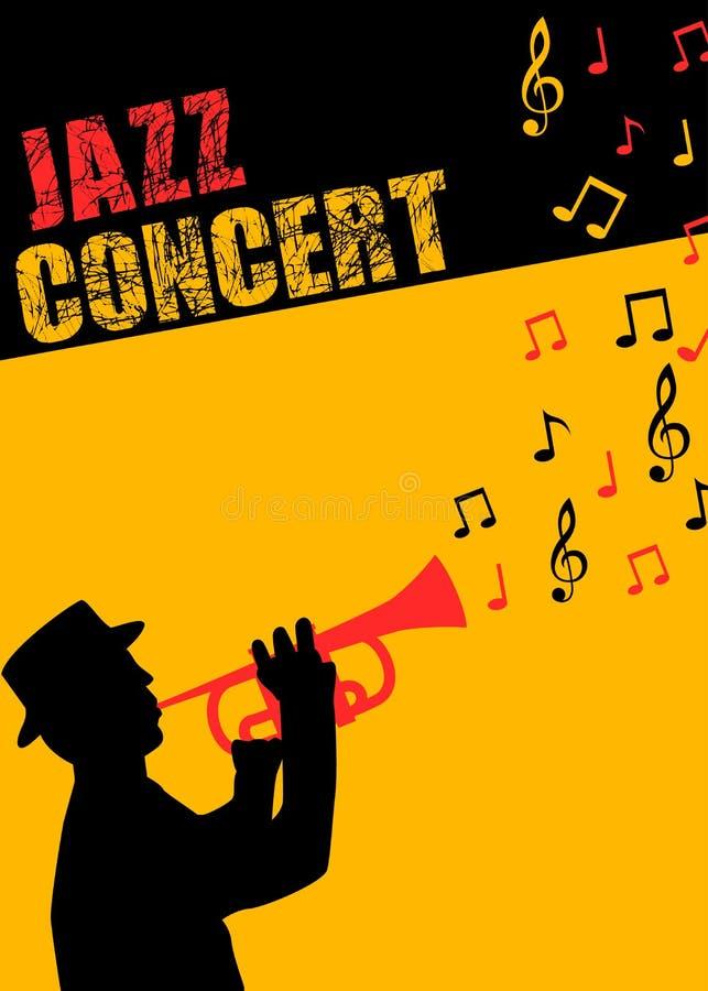 Плакат и рогулька концерта джазовой музыки иллюстрация вектора