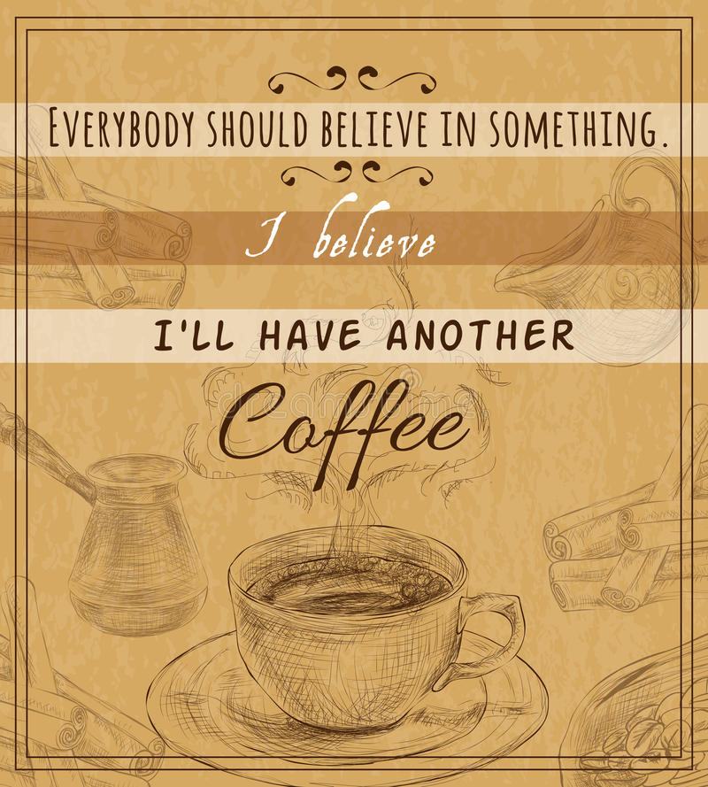Плакат комплекта кофе ретро иллюстрация вектора