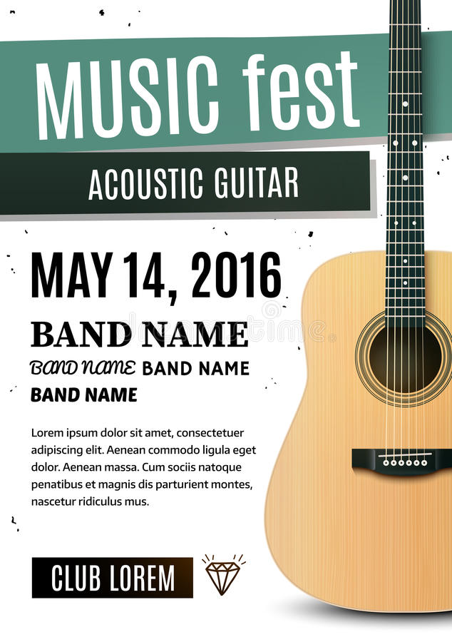 Плакат концерта с акустической гитарой также вектор иллюстрации притяжки corel стоковое фото rf