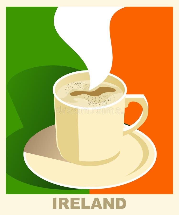 Плакат кофе стиля Арт Деко с флагом Ирландией Концепция года сбора винограда кофе Национальная кофейня, кафе, ресторан, бар иллюстрация штока