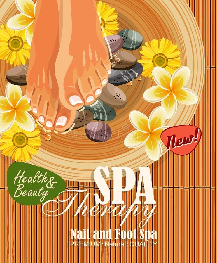 Плакат курорта Pedicure с ногами или ногами женщин с розовым ногтем иллюстрация вектора