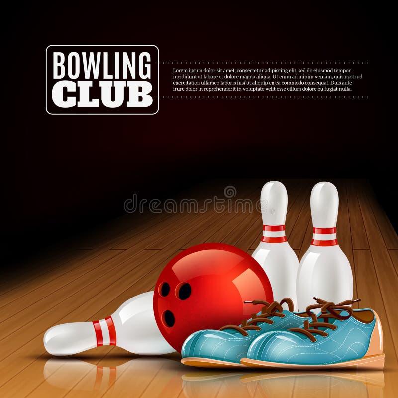 Плакат клуба лиги боулинга крытый бесплатная иллюстрация