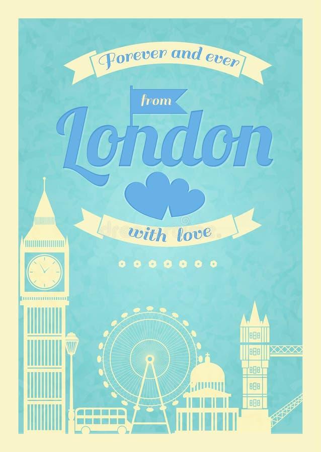 Плакат Лондона влюбленности винтажный ретро иллюстрация вектора