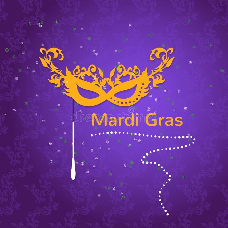 Плакат маски партии марди Гра иллюстрация вектора