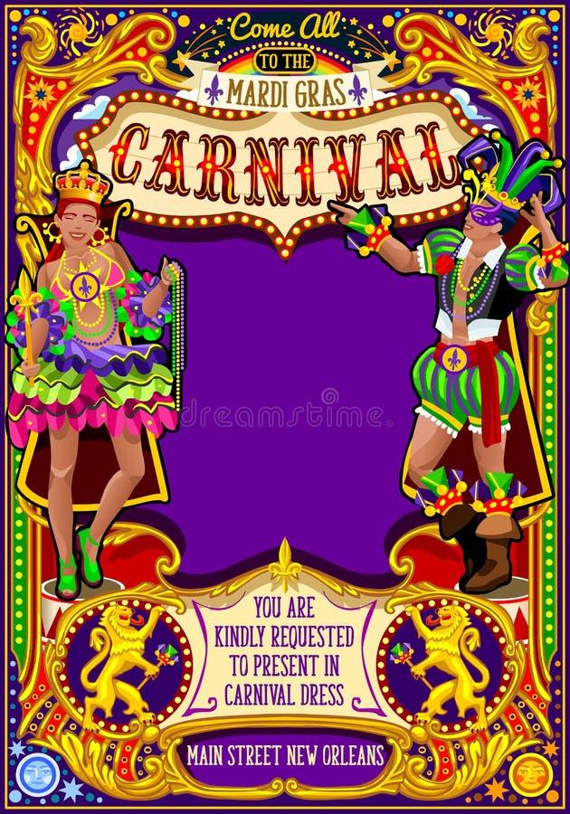 Плакат масленицы марди Гра приглашает парад выставки маски масленицы бесплатная иллюстрация