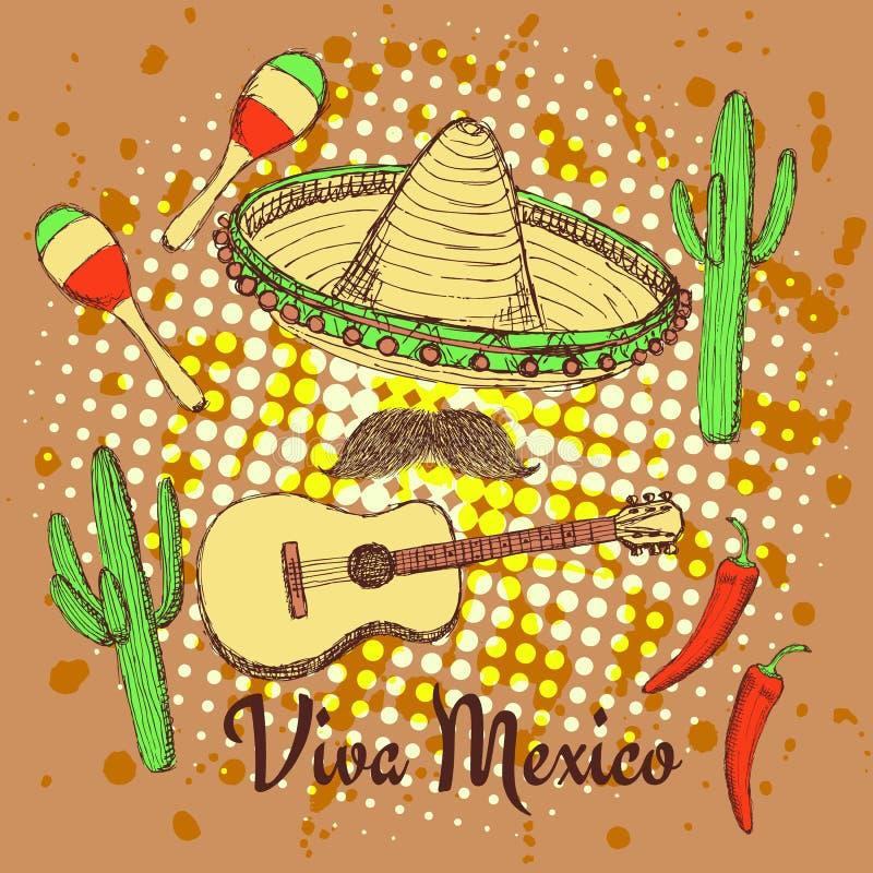 Плакат мексиканца эскиза иллюстрация вектора