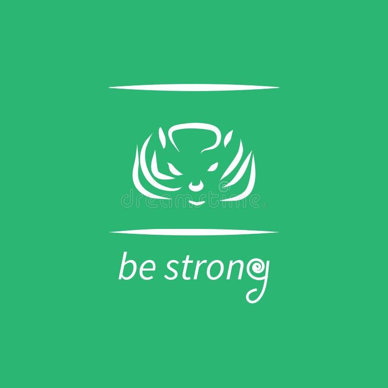 Плакат мотивировки с текстом сильная и животная голова стоковое изображение