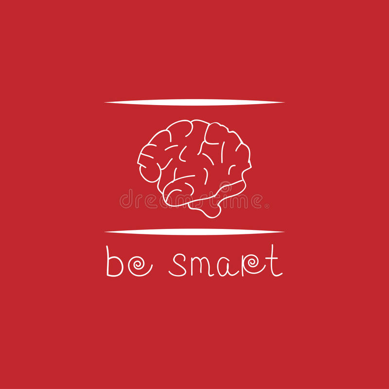 Плакат мотивировки с текстом умен и мозги стоковое фото