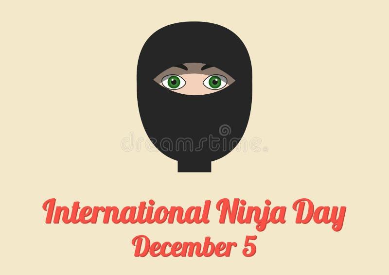 Плакат на международный день Ninja (5-ое декабря) иллюстрация вектора