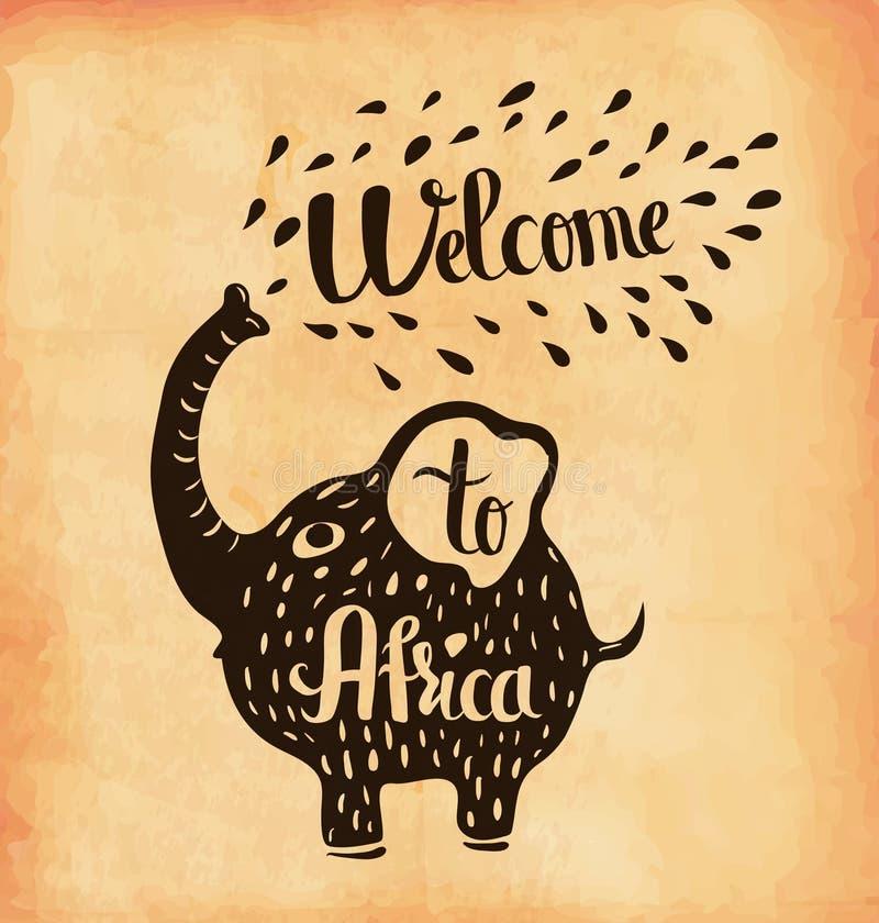 Плакат на постаретой бумаге Отключение к Африке сафари вектор иллюстрация вектора