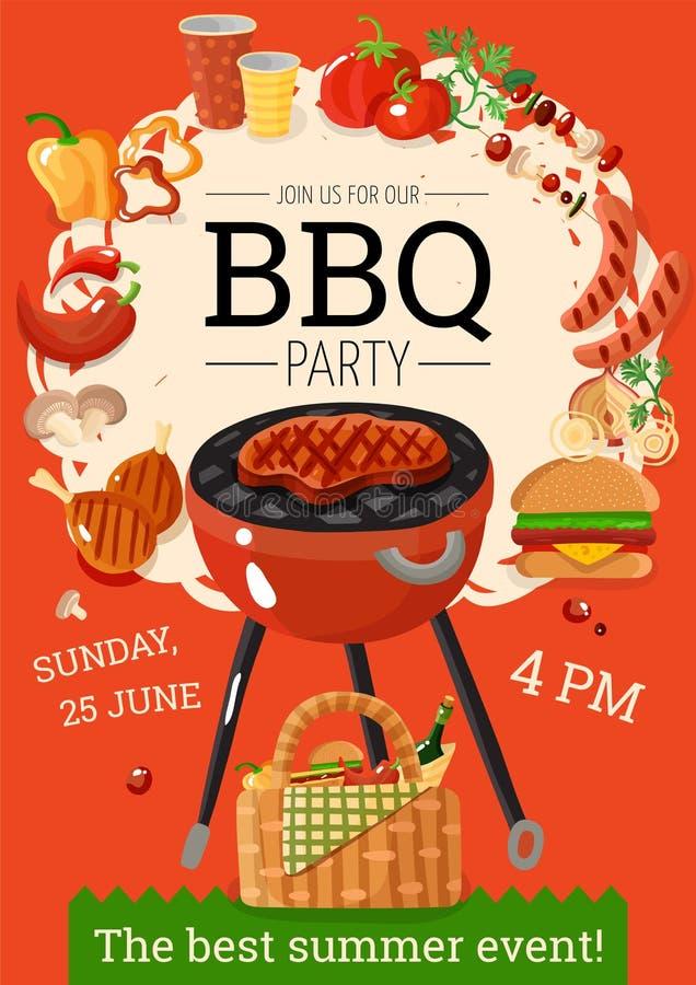 Плакат объявления партии барбекю BBQ бесплатная иллюстрация