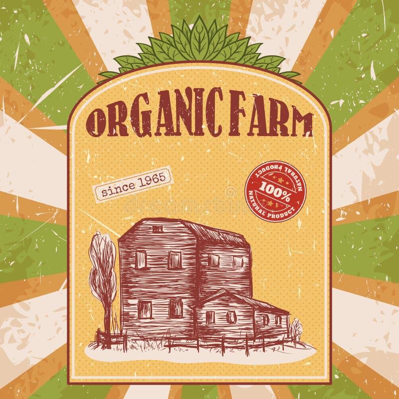 Плакат органической фермы винтажный с сельским домом на текстуре предпосылки деревянных доск иллюстрация вектора