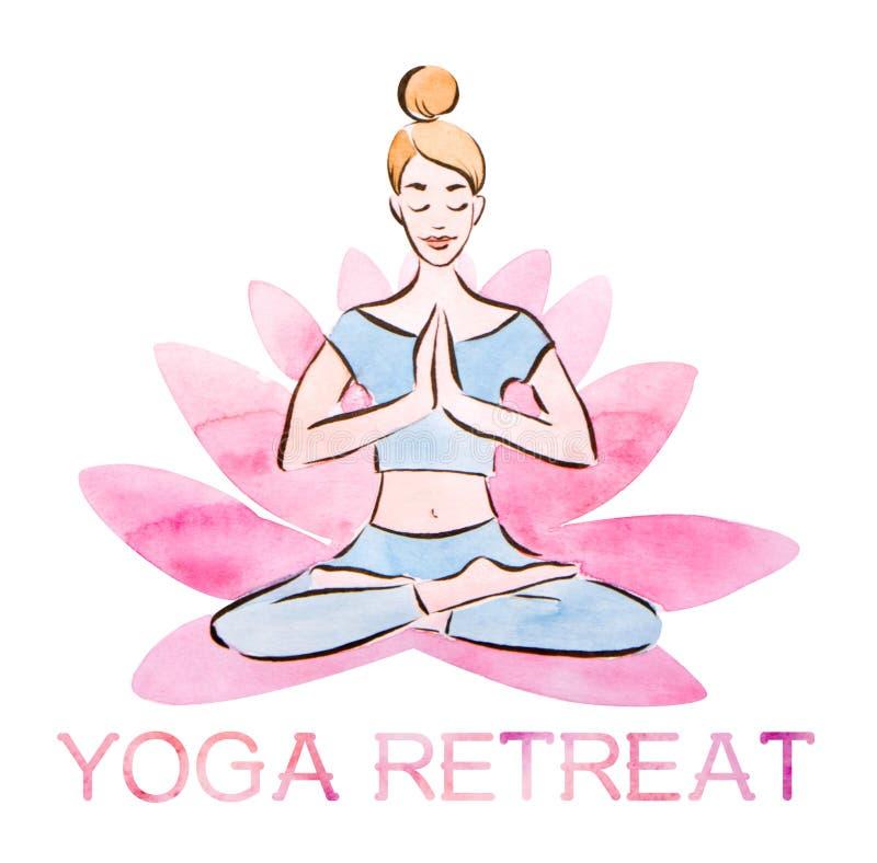 Плакат отступления йоги, представление в гигантский цветок лотоса, акварель лотоса милой маленькой девочки практикуя с методом ма бесплатная иллюстрация
