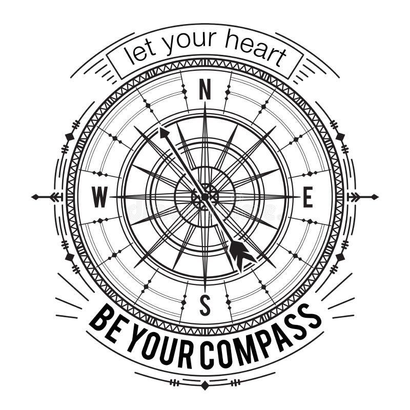 Плакат оформления с винтажным компасом и нарисованными рукой элементами Вдохновляющая цитата иллюстрация вектора