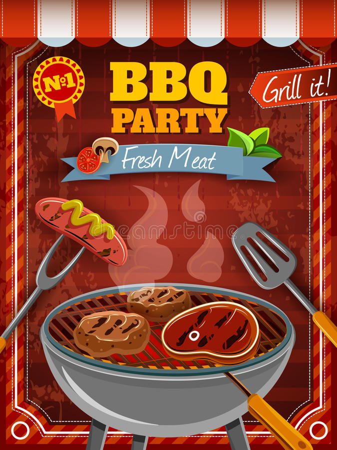 Плакат партии барбекю иллюстрация штока