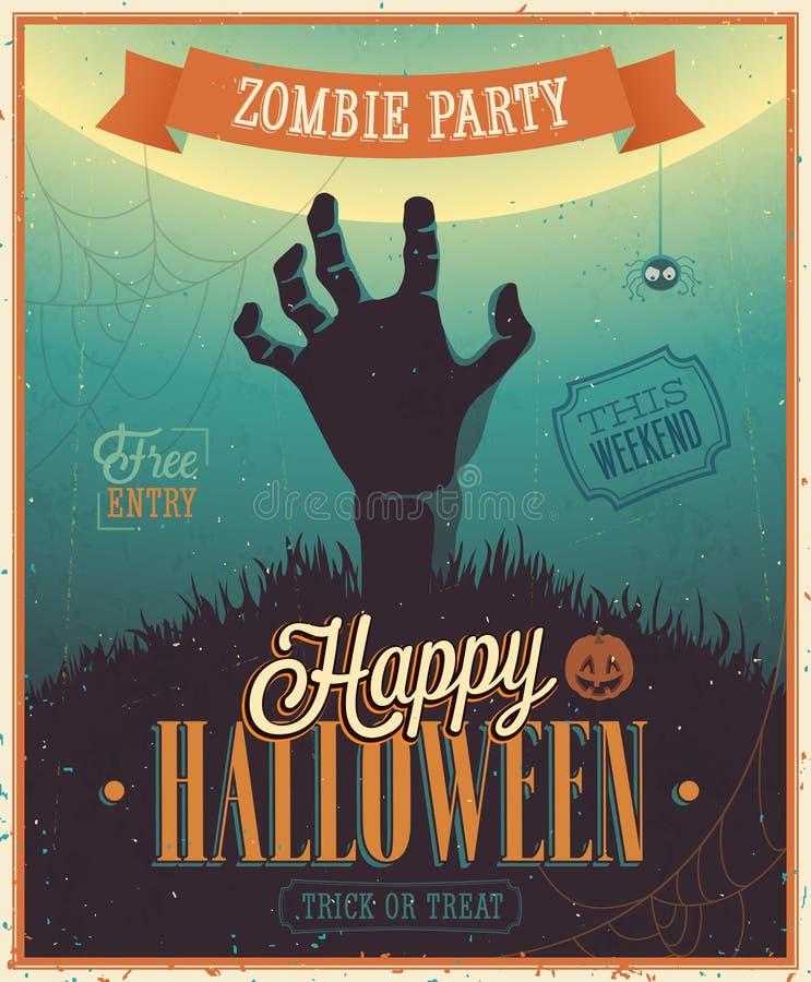 Плакат партии зомби хеллоуина. бесплатная иллюстрация