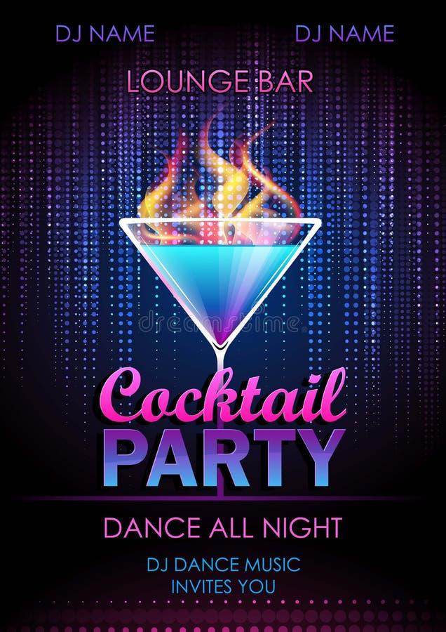 Плакат партии коктеиля иллюстрация вектора